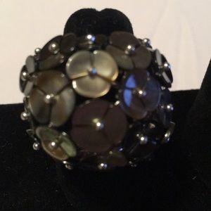Fine Jewelry Black Tahitian Pearl Silver Ring
